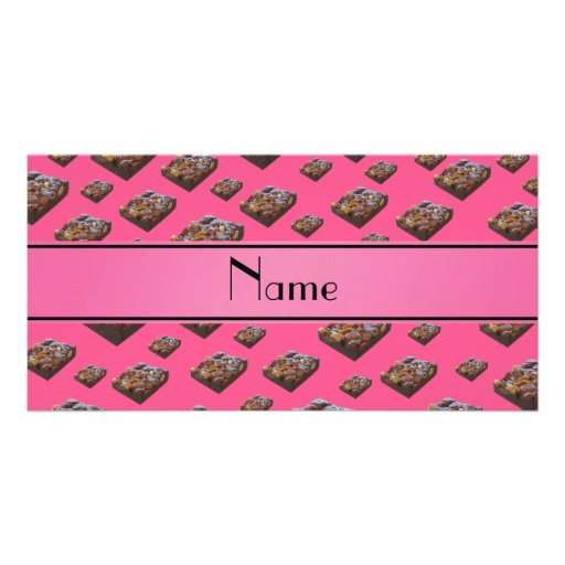 Personalized name pink brownies personalized photo card