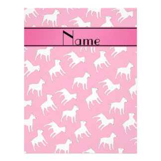 Personalized name pink bull terrier dogs full color flyer