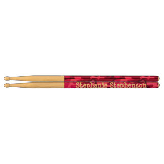 Personalized Name Pink Camo Girl's Cute Drumsticks