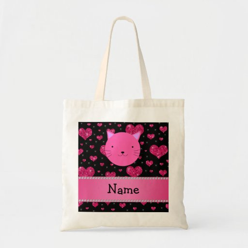 Personalized name pink cat face pink glitter heart canvas bags
