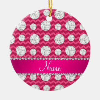 Personalized name pink chevrons volleyballs ceramic ornament
