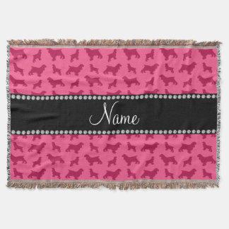 Personalized name pink cocker spaniel throw blanket