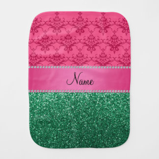 Personalized name pink damask green glitter burp cloths