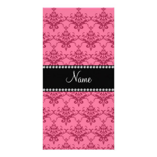 Personalized name Pink damask Customized Photo Card