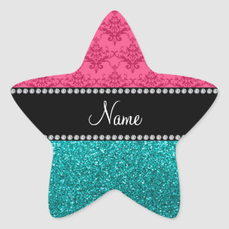Personalized name pink damask turquoise glitter sticker