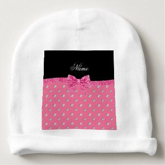 Personalized name pink diamonds pink bow baby beanie