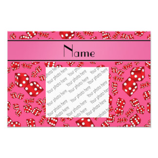 Personalized name pink dice pattern photo print