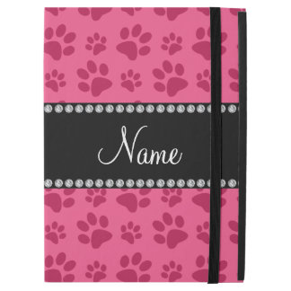 Personalized name pink dog paw prints