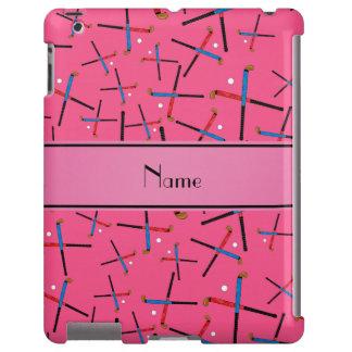 Personalized name pink field hockey pattern
