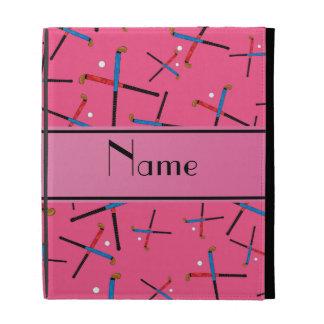 Personalized name pink field hockey pattern iPad folio case