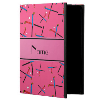 Personalized name pink field hockey pattern cover for iPad air