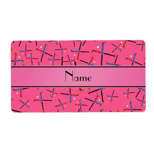 Personalized name pink field hockey pattern shipping labels