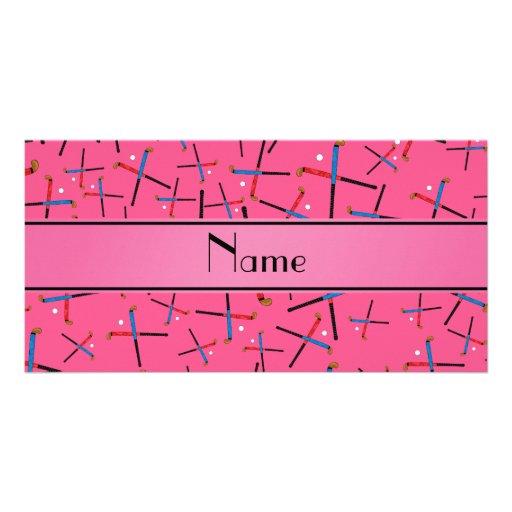 Personalized name pink field hockey pattern custom photo card