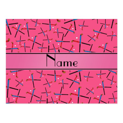 Personalized name pink field hockey pattern post card