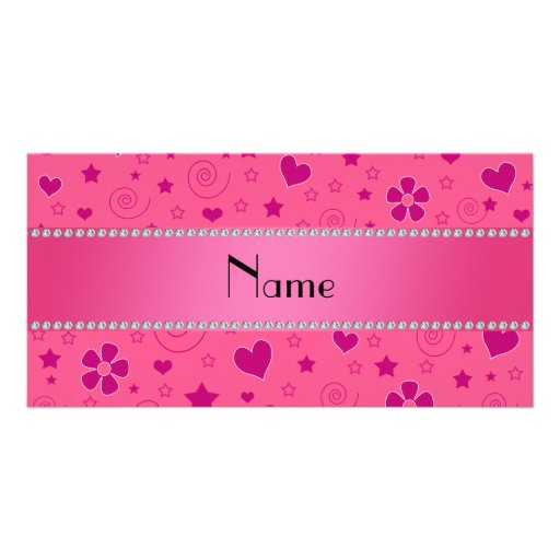 Personalized name pink flowers hearts swirls stars photo card