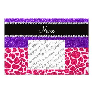 Personalized name pink giraffe purple glitter photo