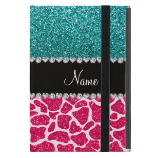 Personalized name pink giraffe turquoise glitter case for iPad mini