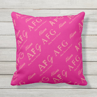 personalized . name pink girly outdoor pillow