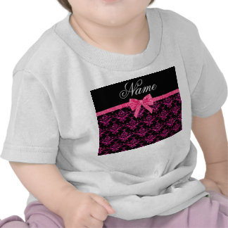 Personalized name pink glitter damask pink bow tshirt