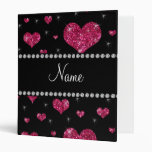 Personalized name pink glitter hearts 3 ring binder