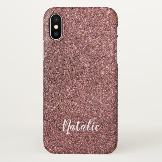 Personalized Name Pink Glitter iPhone X case