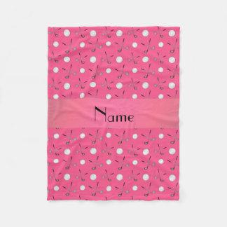 Personalized name pink golf balls fleece blanket