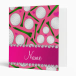 Personalized name pink golf balls tees hearts vinyl binders