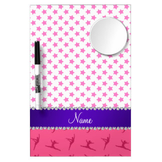 Personalized name pink gymnastics pink stars dry erase boards