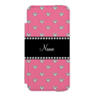 Personalized name pink heart diamonds incipio watson™ iPhone 5 wallet case