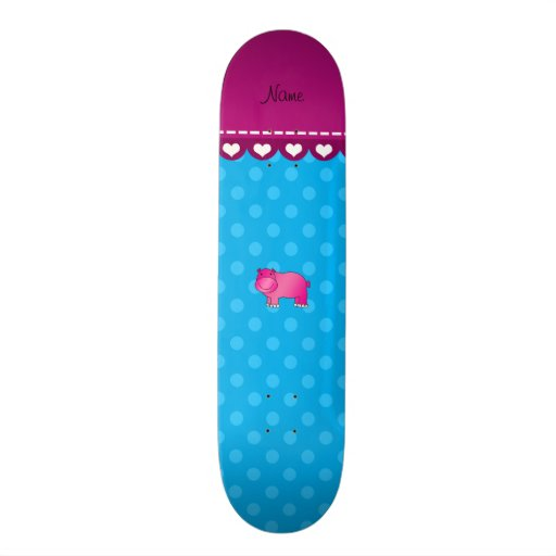 Personalized name pink hippo blue polka dots skate decks