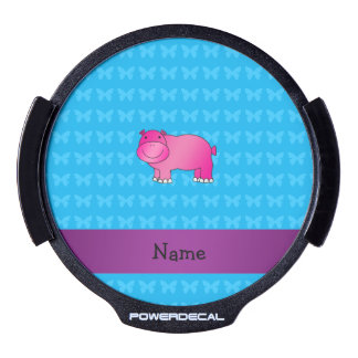 Personalized name pink hippo LED car decal
