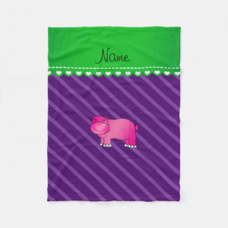 Personalized name pink hippo purple stripes fleece blanket