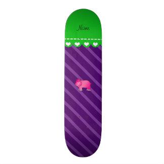 Personalized name pink hippo purple stripes skateboard decks
