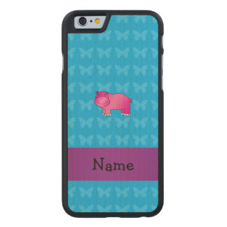 Personalized name pink hippo carved® maple iPhone 6 case