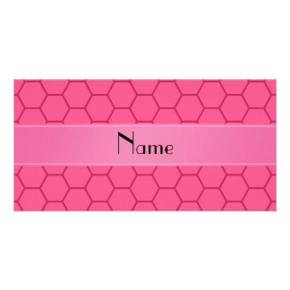 Personalized name pink honeycomb personalized photo card
