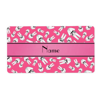 Personalized name pink karate pattern labels
