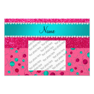 Personalized name pink knitting rose pink glitter photo
