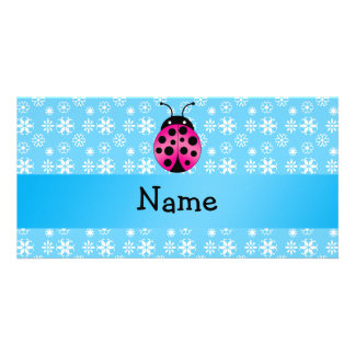 Personalized name pink ladybug blue snowflakes personalized photo card