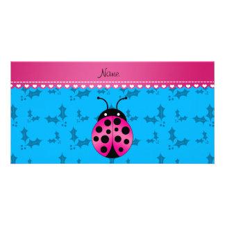 Personalized name pink ladybug sky blue holly customized photo card