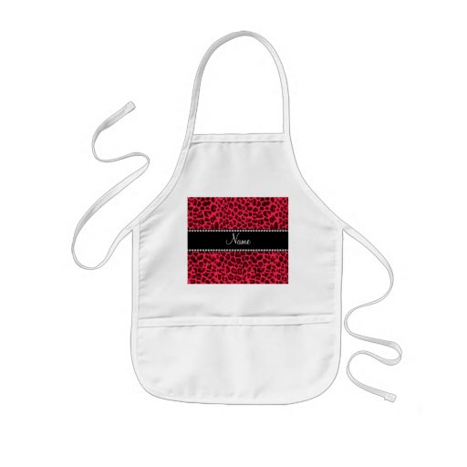 Personalized name pink leopard pattern apron