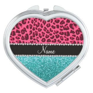 Personalized name pink leopard turquoise glitter compact mirror