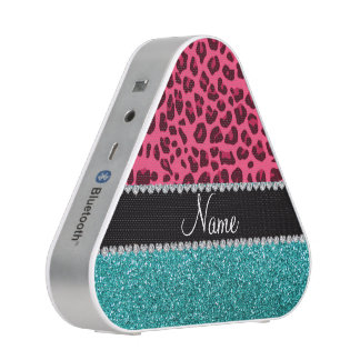 Personalized name pink leopard turquoise glitter speaker