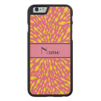 Personalized name pink lightning bolts carved® maple iPhone 6 case