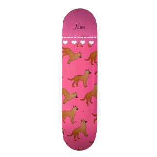 Personalized name pink malinois dogs skate board deck