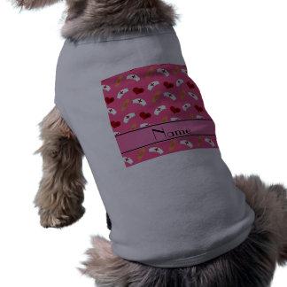 Personalized name pink nurse pattern dog tshirt