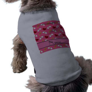 Personalized name pink nurse pattern dog t-shirt
