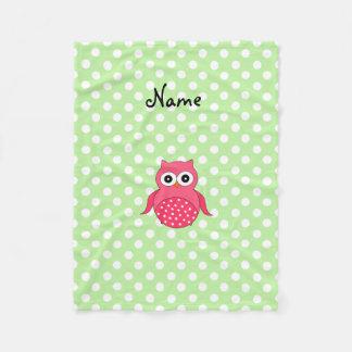 Personalized name pink owl green polka dots fleece blanket