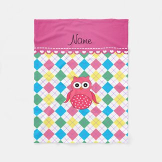 Personalized name pink owl rainbow argyle fleece blanket