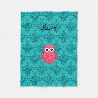 Personalized name pink owl turquoise damask fleece blanket