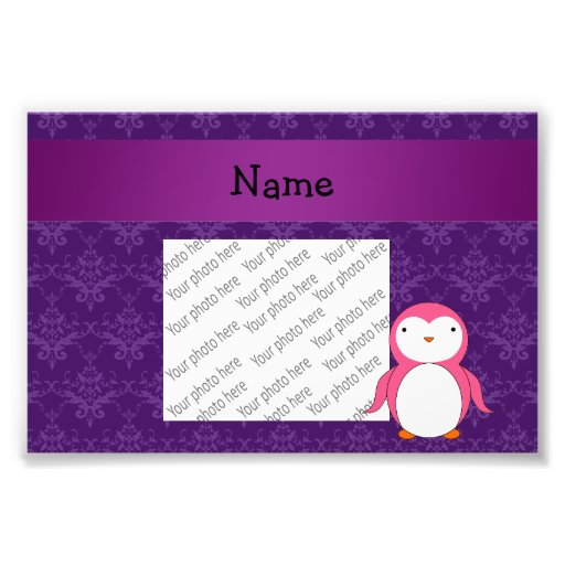 Personalized name pink penguin purple damask photo print